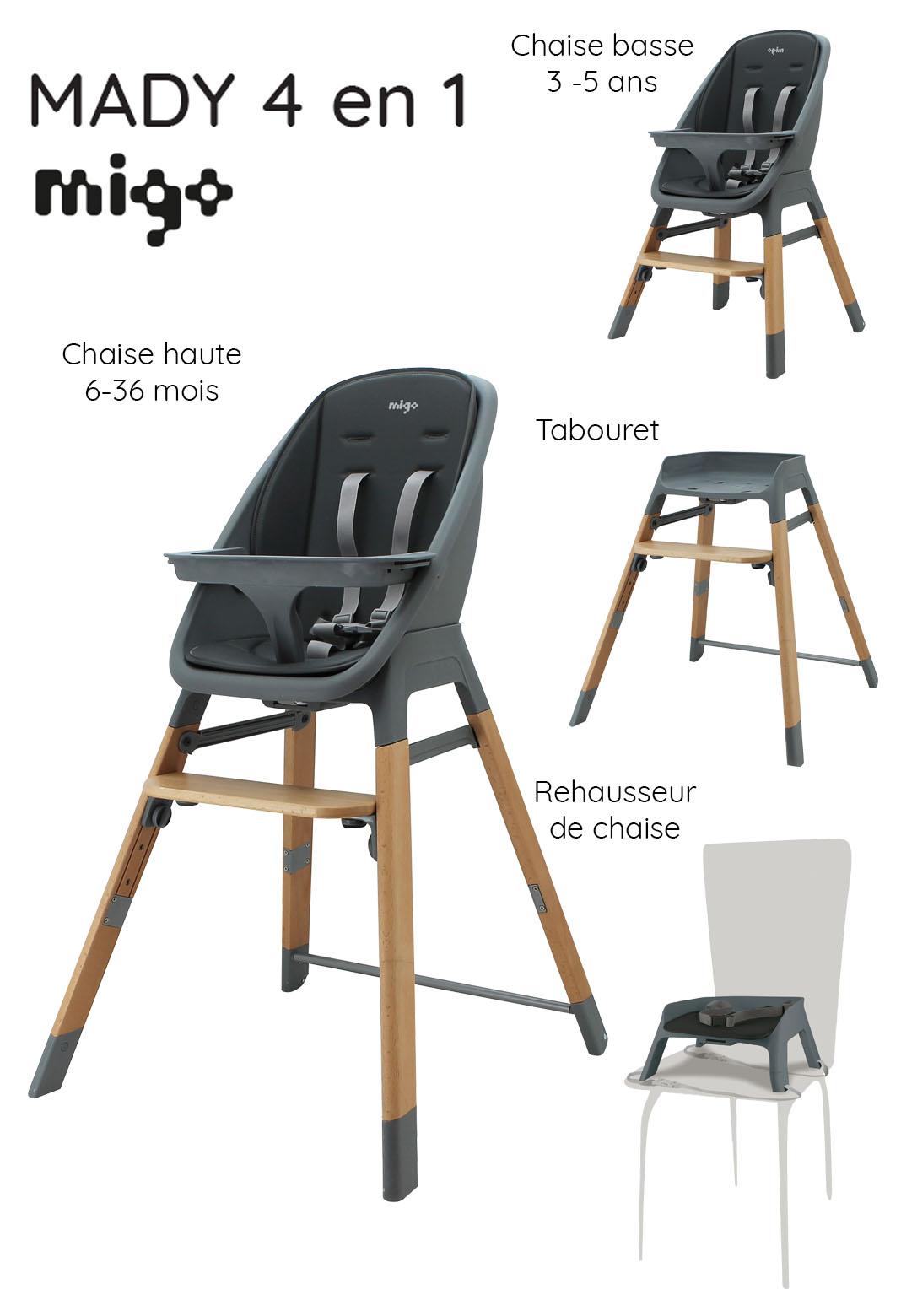 Chaise haute évolutive MADY 4 en 1 Design et confort